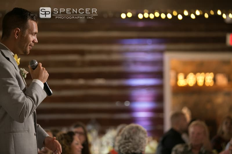 groom gives speech at his wedding reception in sandusky