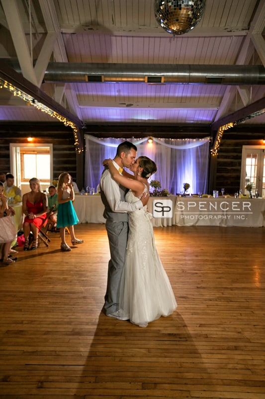 first dance at wedding reception at vermilion on the lake