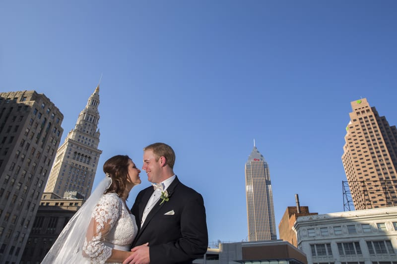 downtown cleveland wedding picture