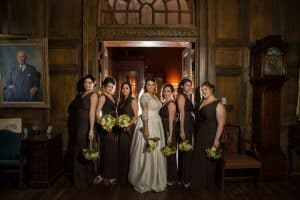 bridesmaids on wedding day at union club of cleveland