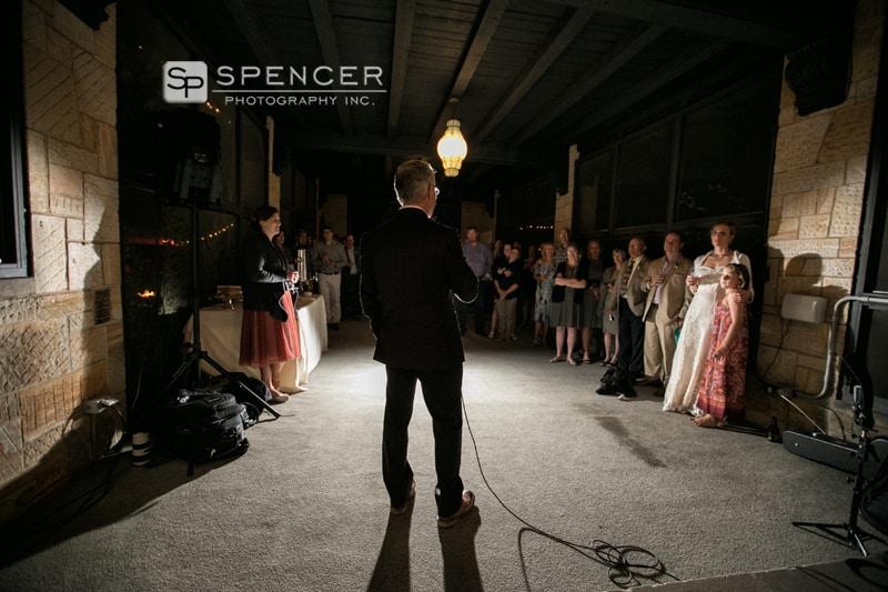 groom giving speech at wedding reception in shaker heights