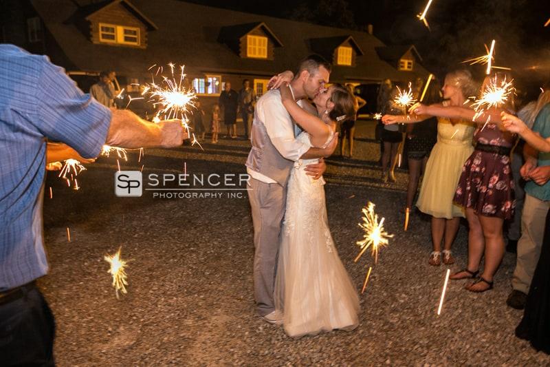 sparkler send off after reception at vermilion on the lake