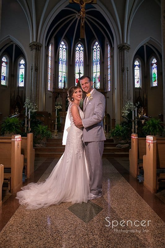 traditinal wedding portrait at St. Mary's Catholic Church Sandusky