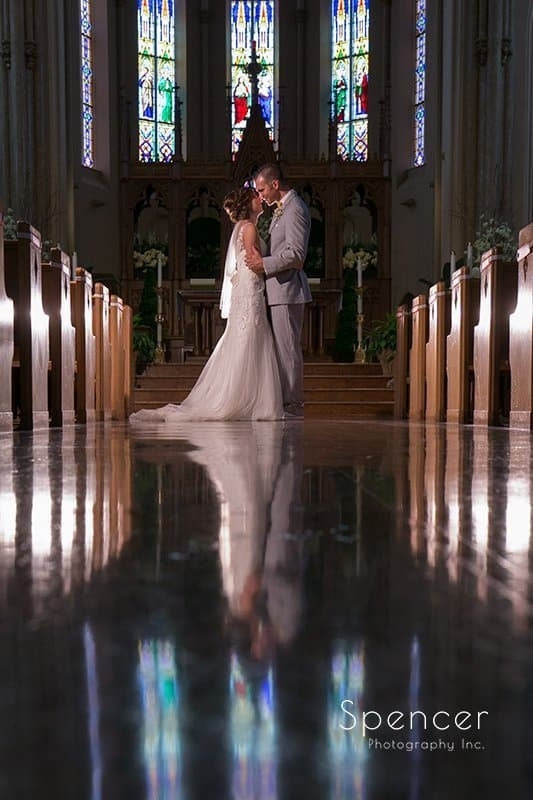 beautiful creative wedding picture in Sandusky church
