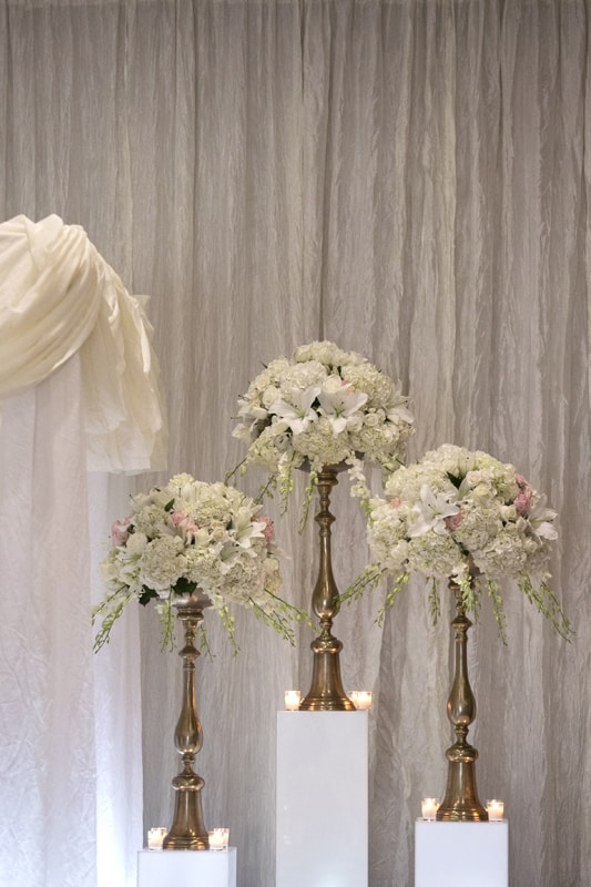 flowers at wedding ceremony at westin cleveland