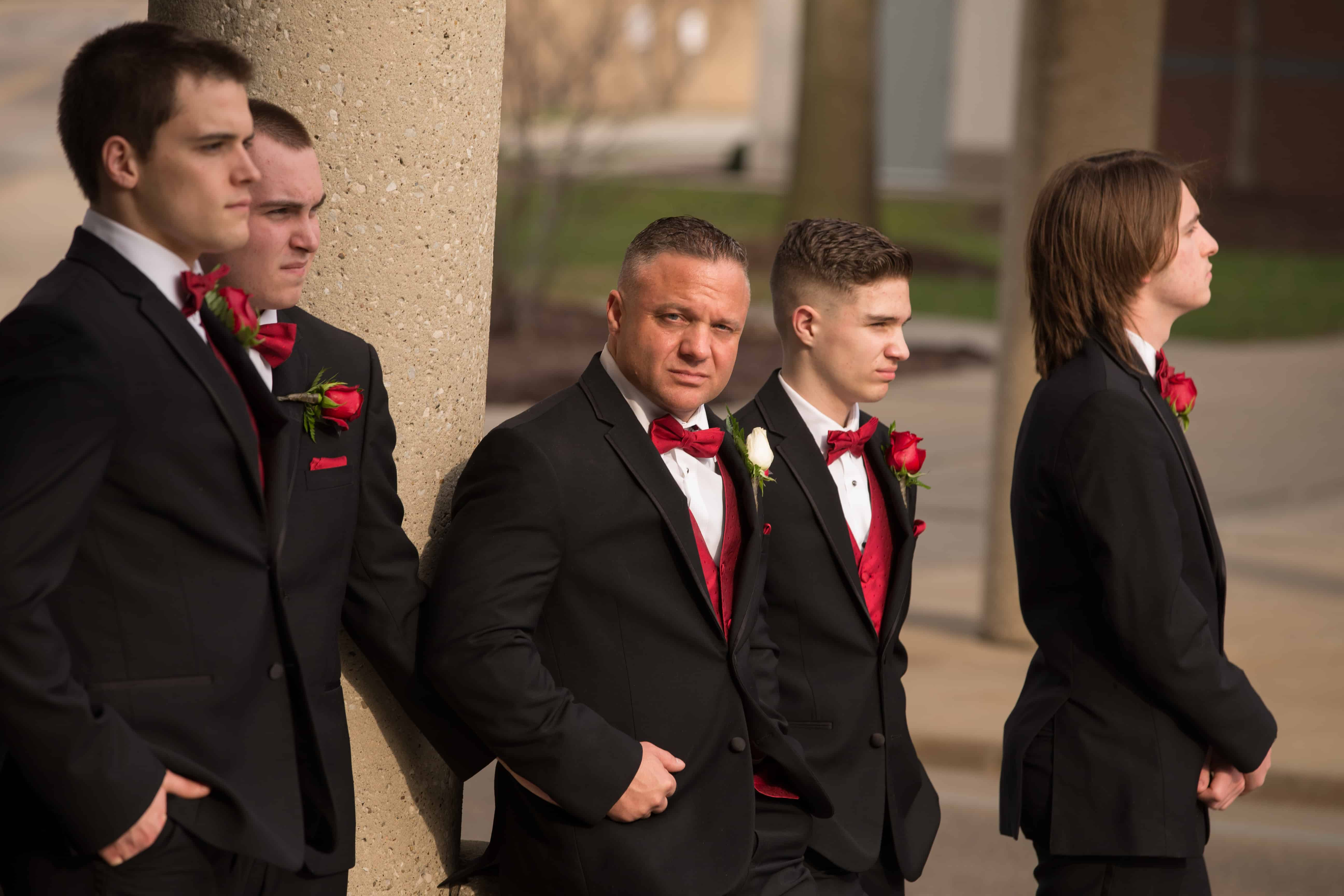 picture of groomsmen in downtown Akron