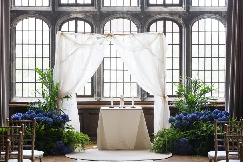 wedding ceremony altar at tudor arms