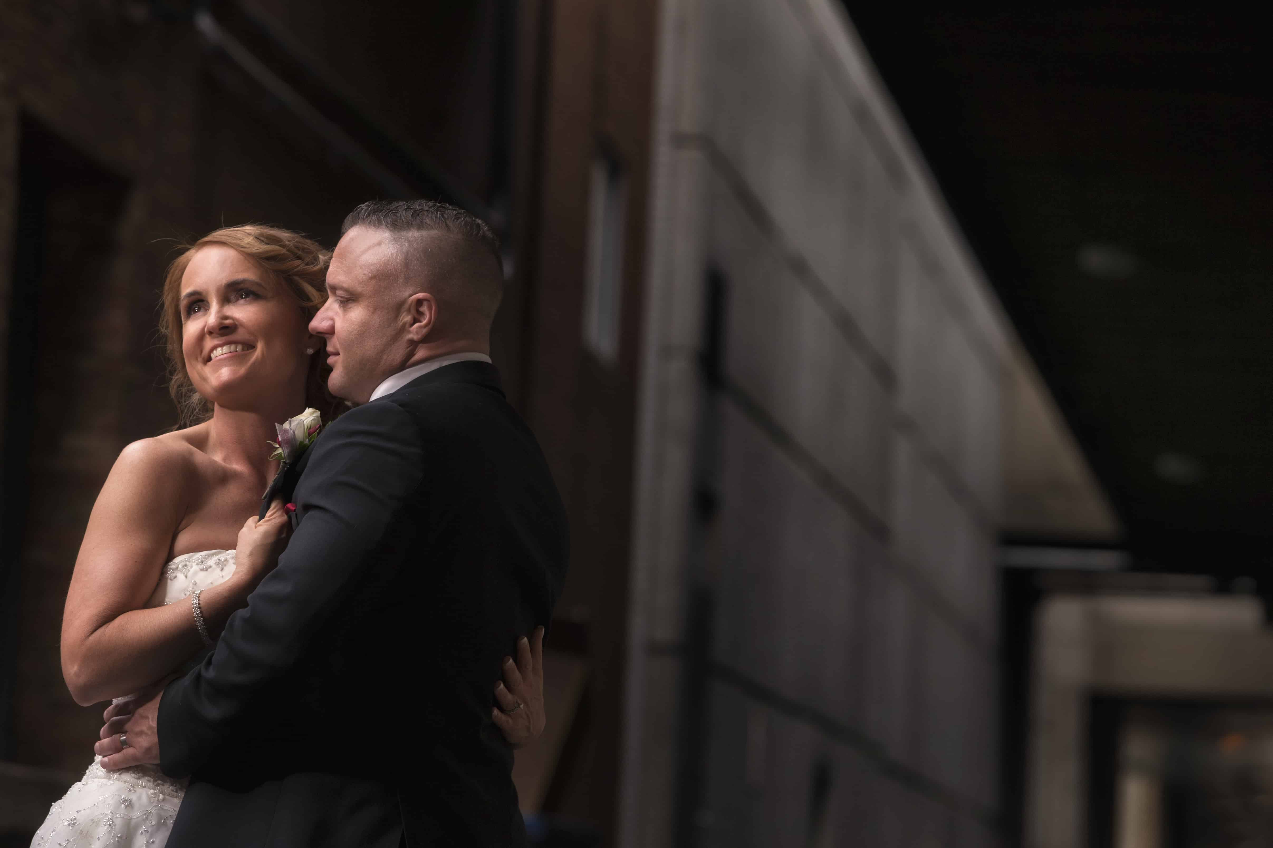 bride and groom picture in alleyway