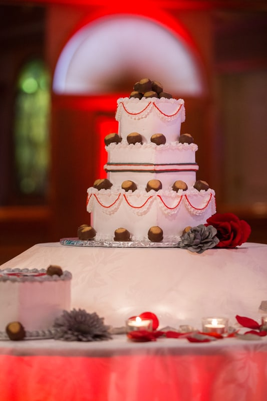 cake at wedding reception at guy's party center
