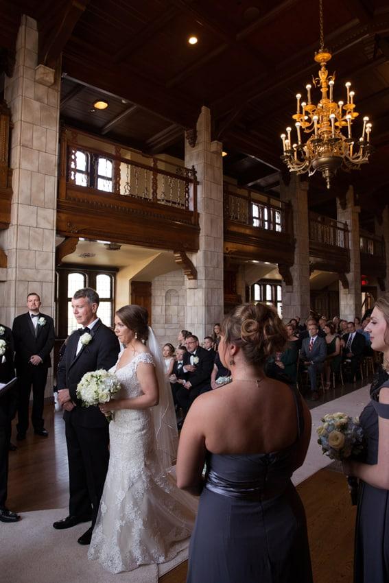 bride and dad at wedding ceremony