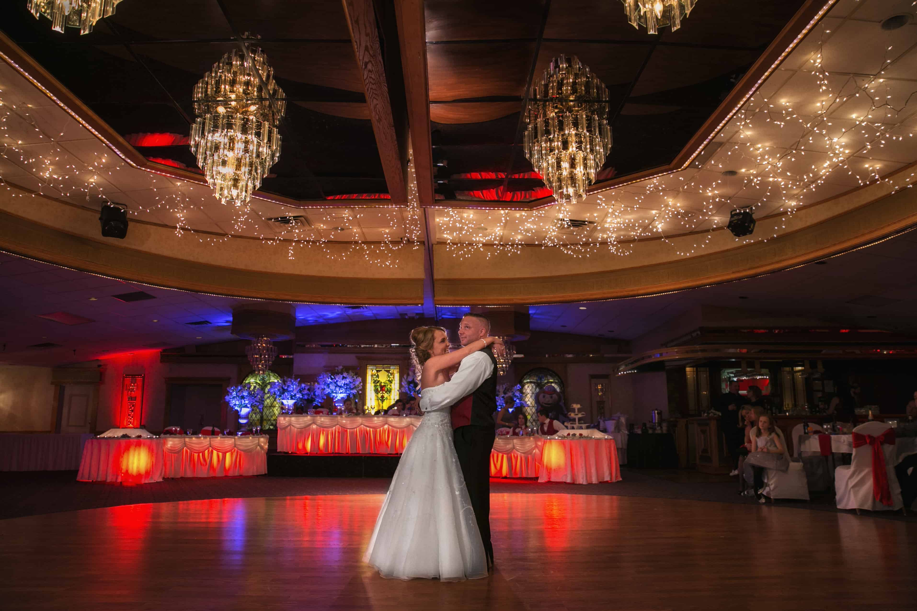 first dance at wedding reception at guy's party center