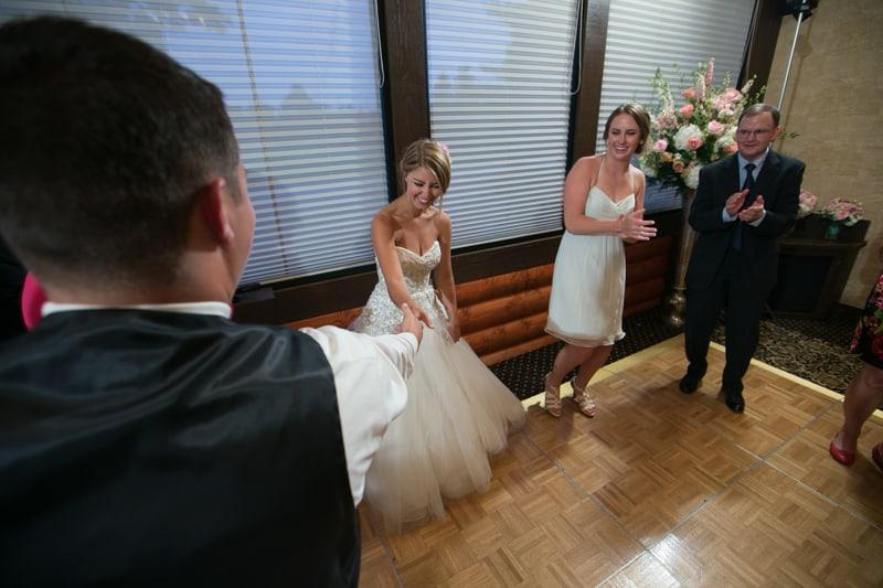 having fun on dancefloor of wedding reception
