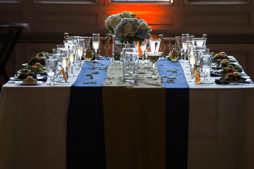 head table at wedding reception at tudor arms