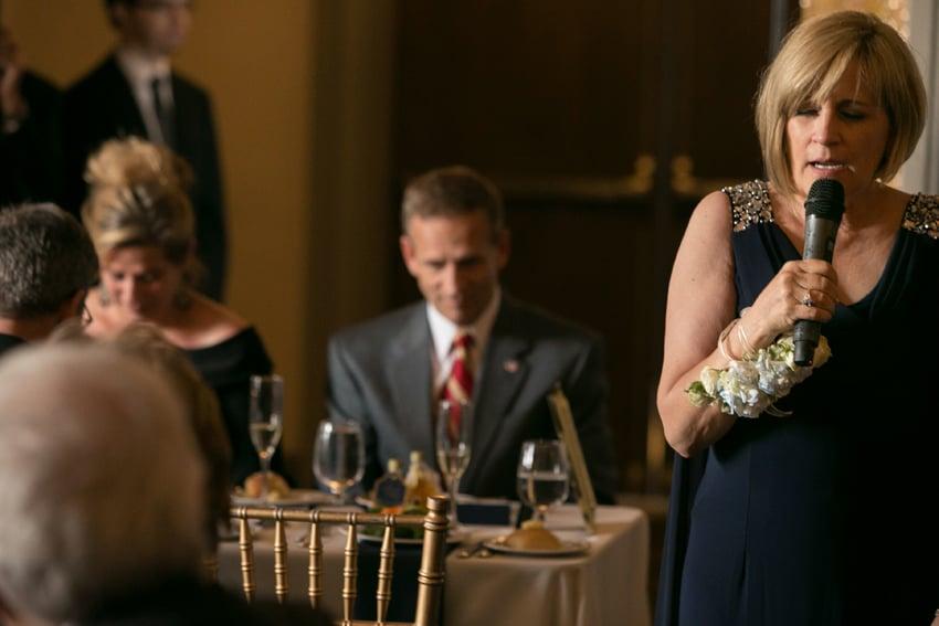 mom giving speech at reception