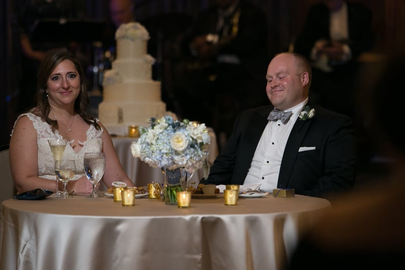 bride and groom at their sweetheart table