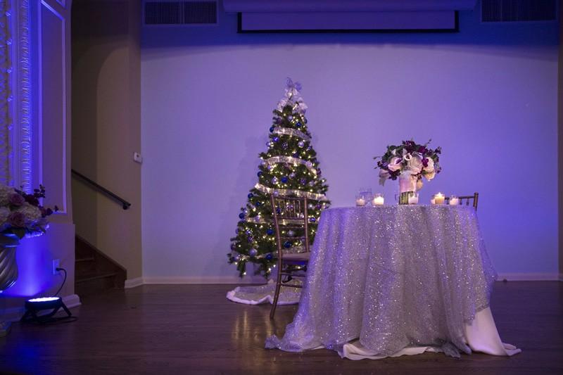 sweetheart table at wedding reception at ballroom at park lane