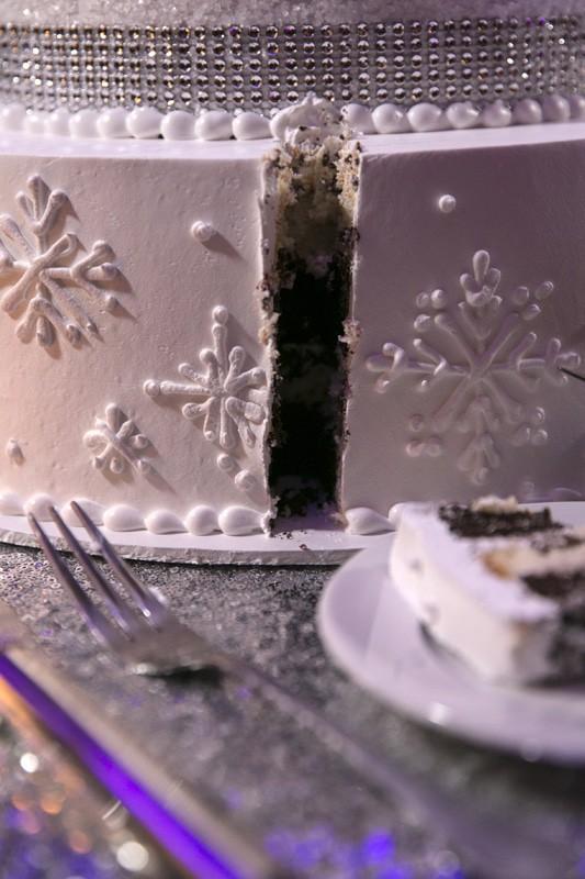 the aftermath of cake cutting at park lane ballroom wedding reception