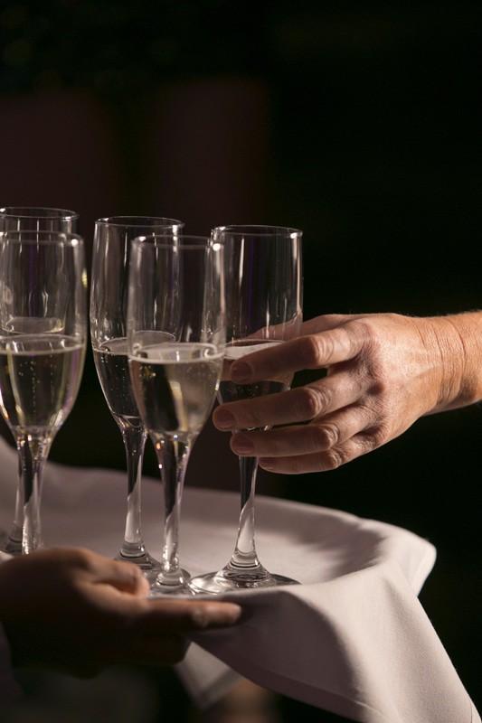 champagne at wedding reception at ballroom at park lane