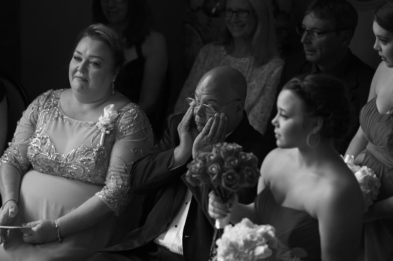 dad crying at union club wedding ceremony