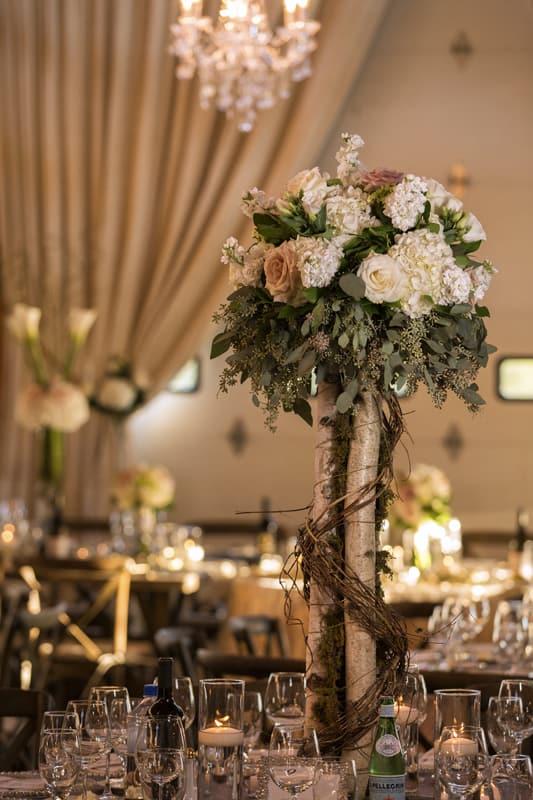 centerpiece at wedding reception in copley