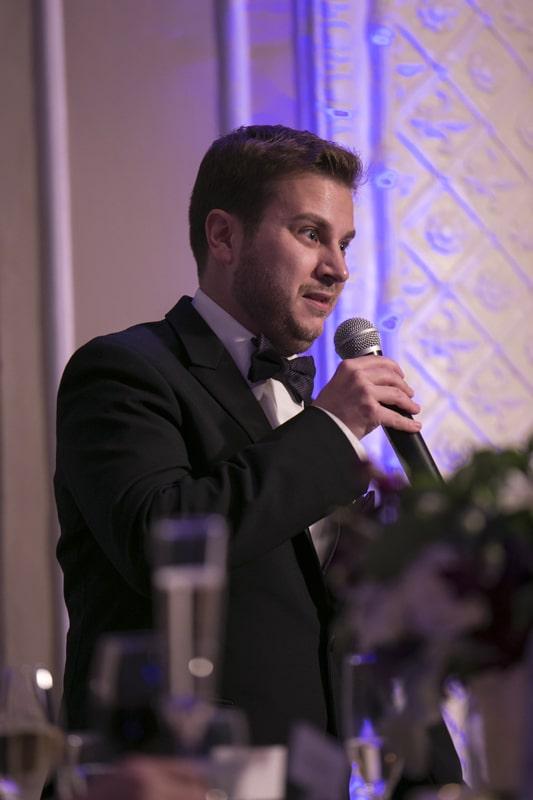 best man speech at wedding reception at ballroom at park lane