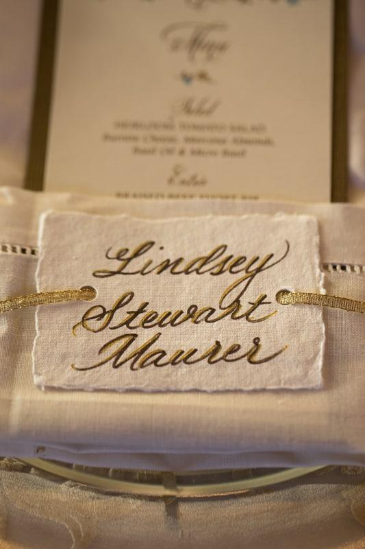 table detail at ken stewart catered wedding reception