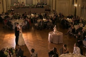 first dance picture shot from balcony at greystone hall