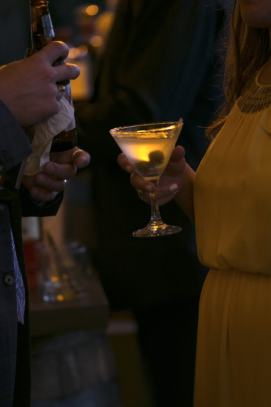 a cocktail at wedding reception in copley