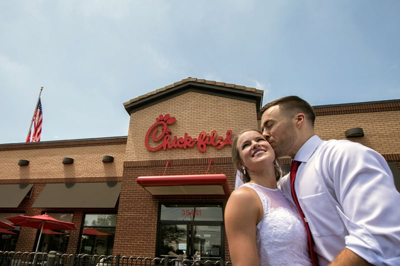 groom and bride at chick fil a