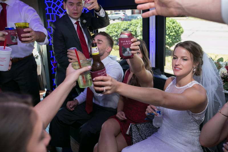 bride passing a beer