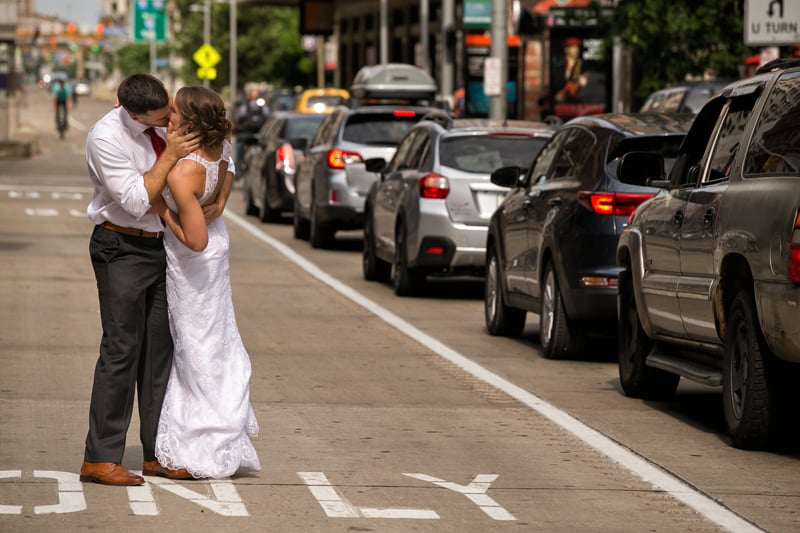 wedding picture in downtown cleveland