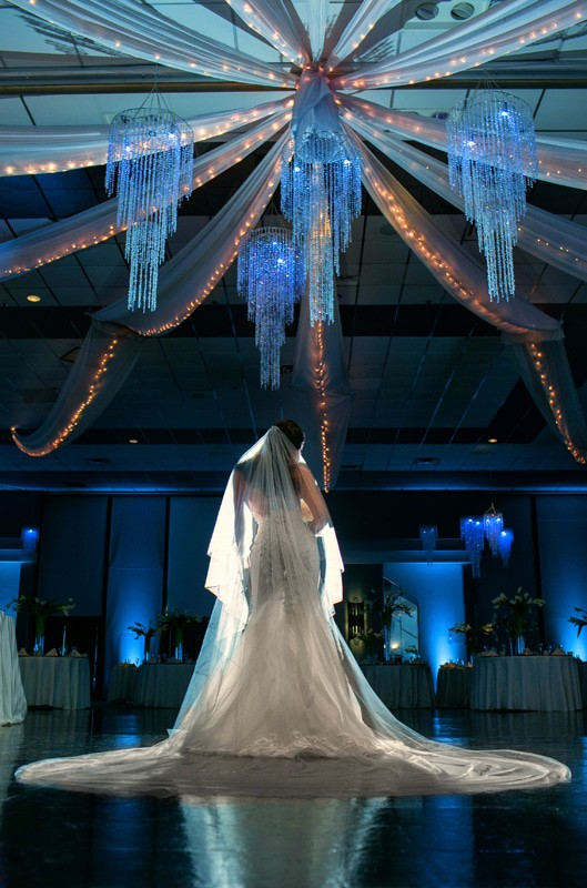 wedding picture of bride in landerhaven ballroom