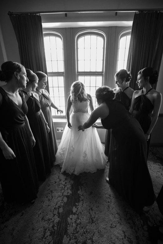bridesmaid with bride at tudor arms