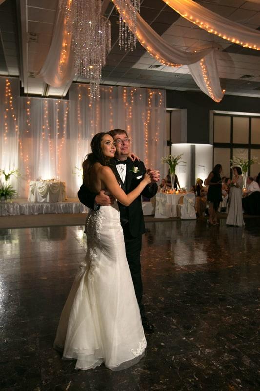 bride dances with dad at wedding reception at landerhaven