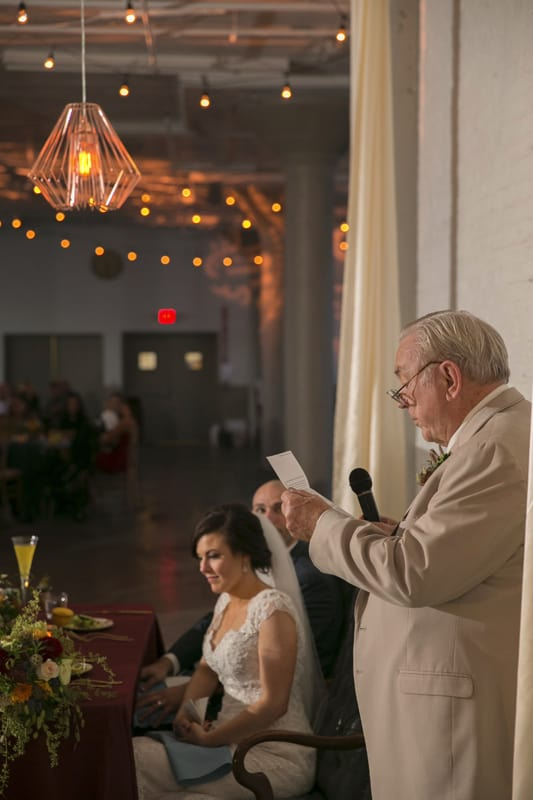 grandfather giving reception speech