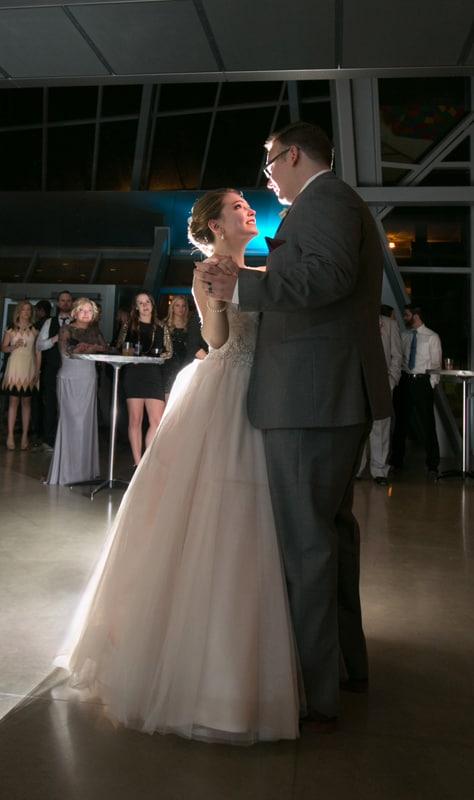 first dance at akron art museum wedding reception