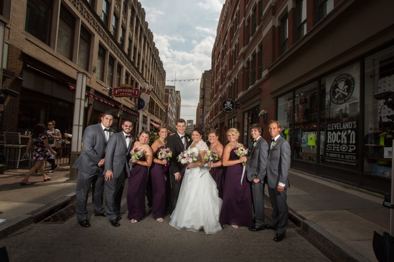 wedding party picture on cleveland east fourth street