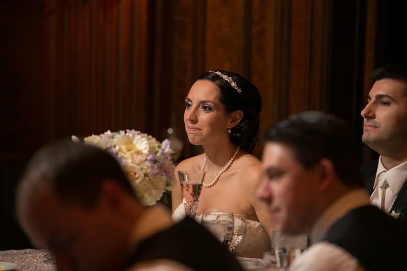bride watching dad's speech