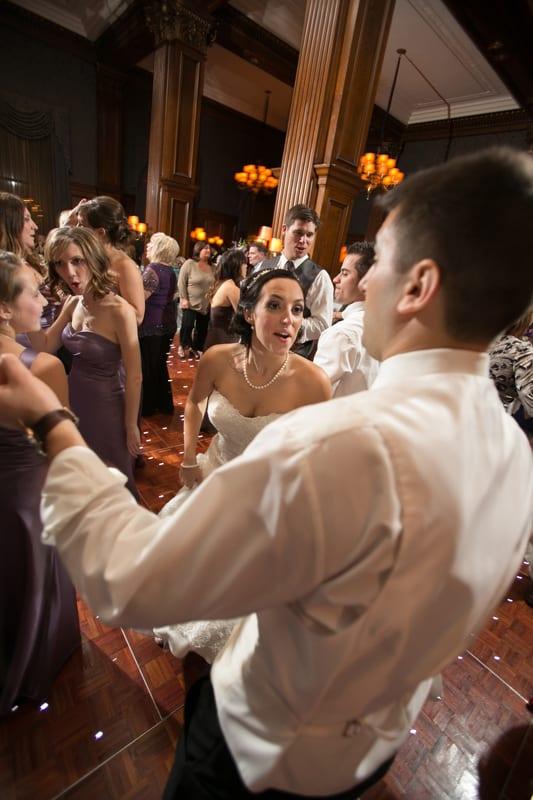 bride and groom dancing and having fun