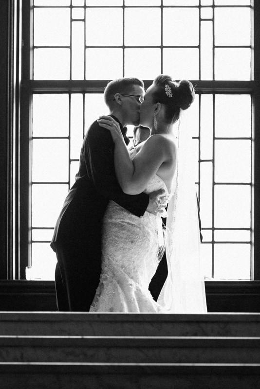 first kiss at union club wedding