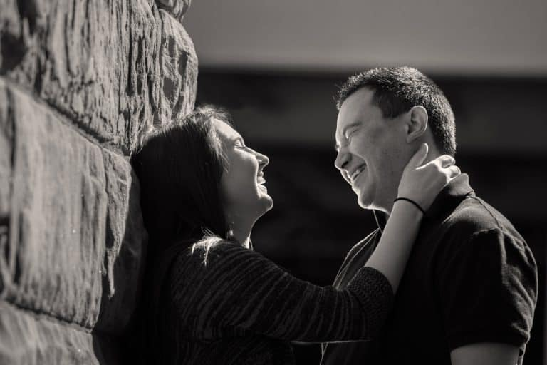 Couple laughing during the Akron engagement pictures