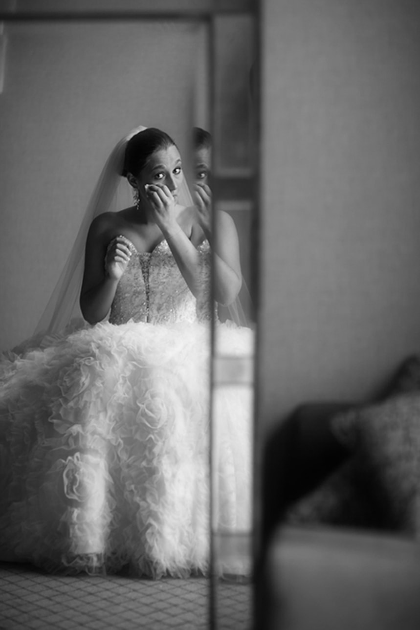 Caught up in the moment on her wedding day