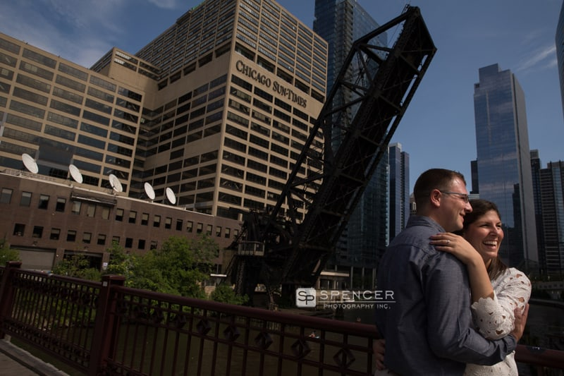 engagement picture in front of chicago tribune