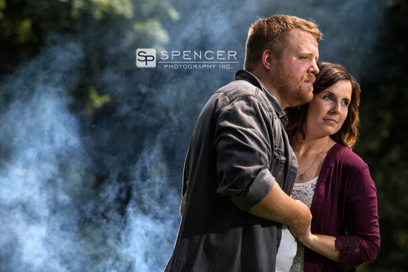 engagement picture with smoke