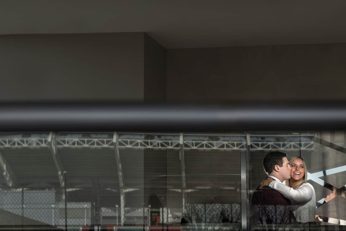 engagement picture at downtown Cleveland Hilton