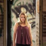 senior portrait in downtown cleveland