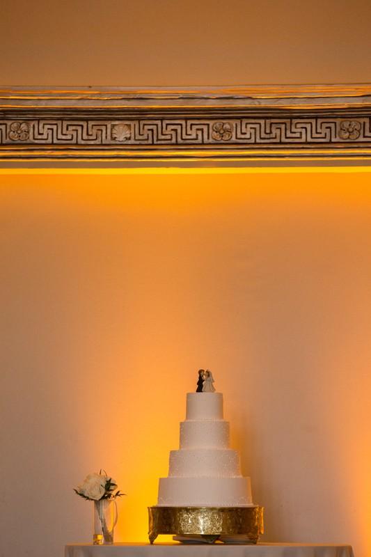 wedding cake at wedding reception at the tudor arms