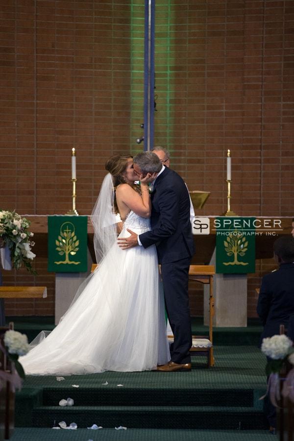 first wedding day kiss