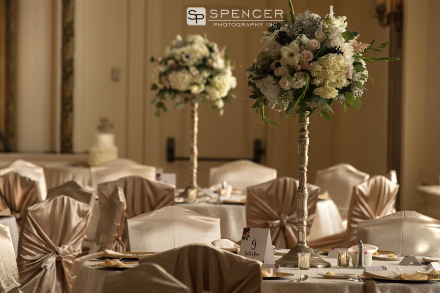 table centerpiece at wedding reception at greystone hall akron