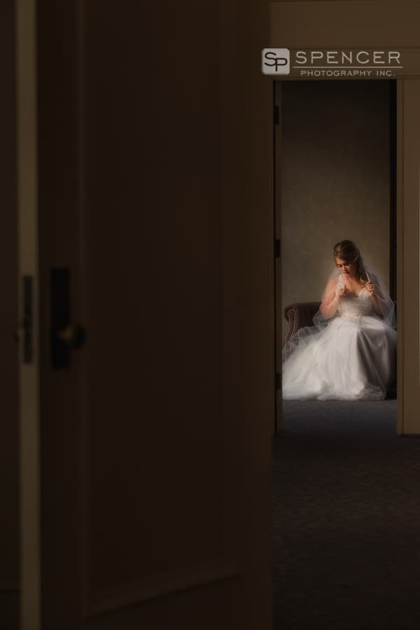 wedding picture of bride at greystone hall